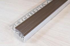 Алюминиевый профиль-ступень с резиновой (ПВХ) вставкой, 30мм/250см, светло-коричневый