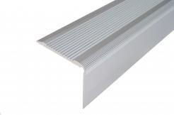 Алюминиевый порог-накладка на ступень 42мм/23мм, 1м, 2м, 3м (серебро)