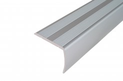Алюминиевый порог-накладка на ступень 38мм/20мм, 1м, 2м, 3м (серебро)