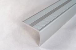 Алюминиевый порог-накладка на ступень 38 мм х 20 мм / 1 м, 2 м, 3 м (серебро)