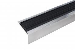 Алюминиевый угловой профиль на ступень с  резиновой (ПВХ) вставкой 1м, 2м, 3м