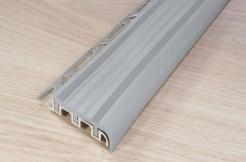 Алюминиевый профиль-ступень с резиновой (ПВХ) вставкой, 52мм/250см, серый, широкий