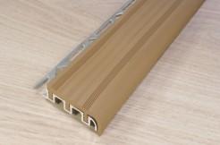 Алюминиевый профиль-ступень с резиновой (ПВХ) вставкой, 52мм/250см, светло-коричневый, широкий